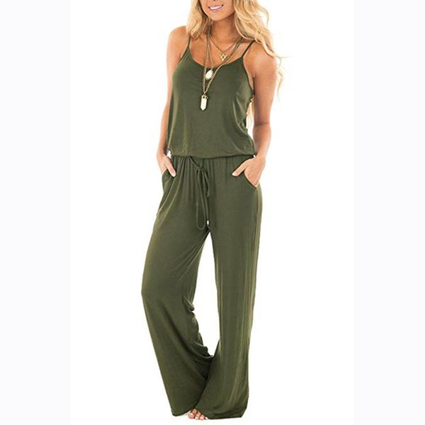 New Women Sleeveless One Piece Jumpsuit Ladies Casual Sexy Costumes Loose Playsuit Long Trousers For 2019 Summer Hot Fashion