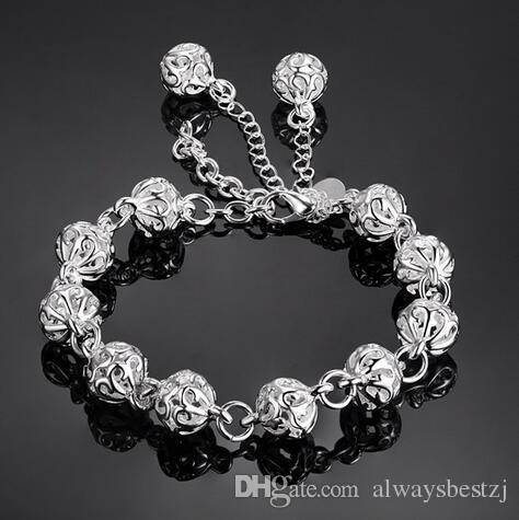 Fashion Cube Hollow Round Beads Chain Bracelet 925 Bracciale in argento per donna Accessori per gioielli da donna