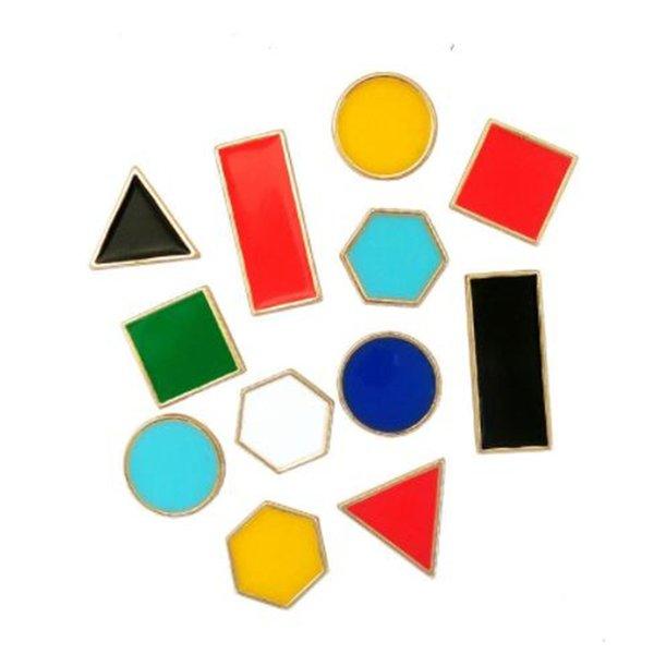 WKOUD Frauen Mode Geometrie Brosche geometrische Polygon Mini Brosche Temperament Dreieck Quadrat Rechteck Pullover Zubehör