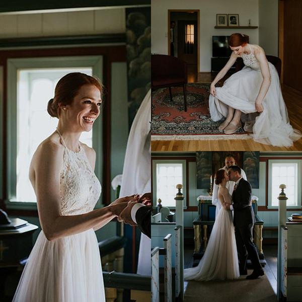 delicate boho beach wedding dress a line sleeveless Halter Top Lace Bridal Gowns Plus Size Open Back Tulle bohemio cheap vestido de novia