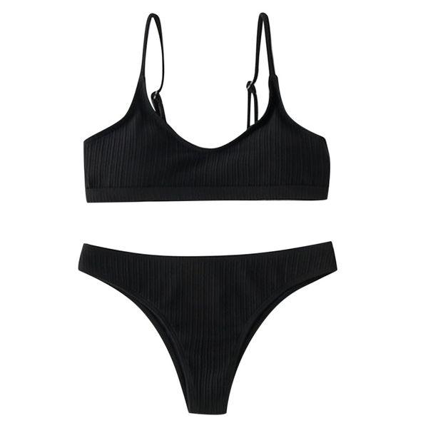 Women Solid Bikini Set Scoop Neck Cut Out Brazilian Swimsuit Front Lace Up Back High Cut Bathing Suit Tanga Swimwear Bekini