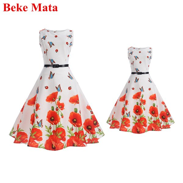 Beke Mata Mother Daughter Dresses Spring 2019 Retro Print Family Matching Girl And Mom Clothes Sleeveless Family Look Clothing Y19051103