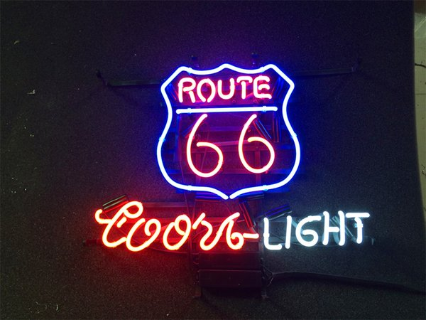 New Star Neon Sign Factory 17X14 Inches Real Glass Neon Sign Light for Beer Bar Pub Garage Room Coors Light Route 66.
