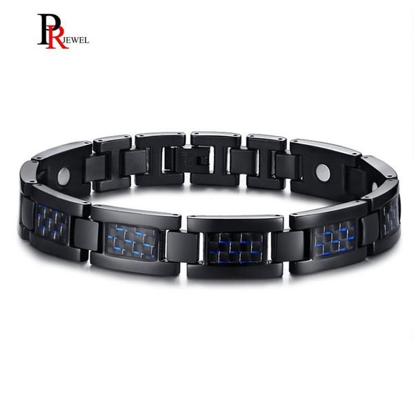 Mens Health Magnetic Bracelet Blue Color 4 Elements Stylish Carbon Fiber Bangles Bracelets Gift for Him