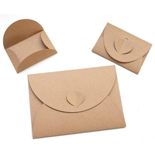 100pcs Big Small Size Heart Shape Pearlized Kraft Paper Envelopes Vintage Party Gift Paper Bag or Wedding Invitation Card Crafts