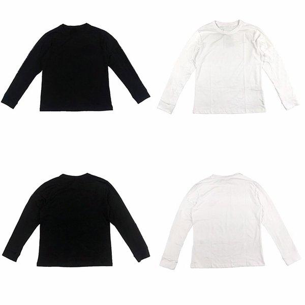 Moda Marka Erkek Tasarımcısı T Shirt 19ss Casual Hepsi maç Tees Erkekler Kadınlar Yaz T Shirt Uzun Kol Siyah Beyaz Beden M-XL