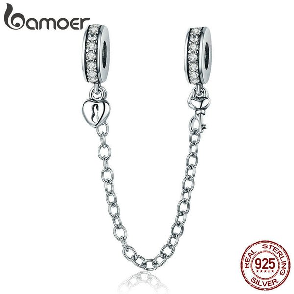 Bamoer Authentic 925 Sterling Silver Stackable Heart Love Heart Dangle Safety Chain Charm Fit Charm Bracelet Diy Jewelry Scc606 SH190713