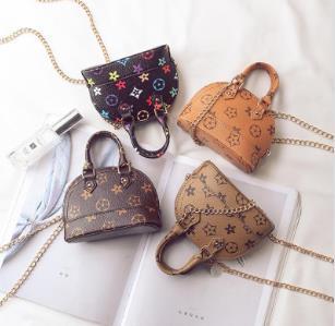 Kids shell Handbags print Designer Mini Purse Shoulder Bags baby Teenager children Girls PU Messenger Bags Cute Christmas Favor