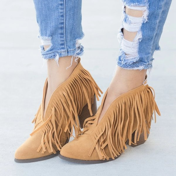 SHUJIN 2019 Chic Women Shoes Retro Fringe Suede High Heel Ankle Boots Female Mid Heels Casual Mujer Booties Feminina