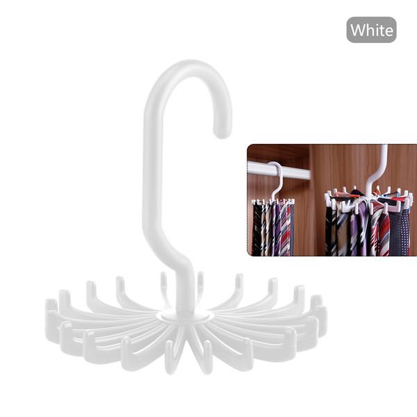 Estante de corbata portátil de plástico giratorio de 360 grados para armarios Corbatas giratorias Gancho Soporte Cinturón Bufandas Percha Para hombres Mujeres Ropa Organizador