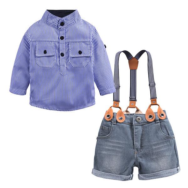 Boy Strap Suit Vêtements pour enfants Vêtements à rayures bleues Chemise Cowboy Pantalon deux pièces à double boutonnage et à manches longues 28