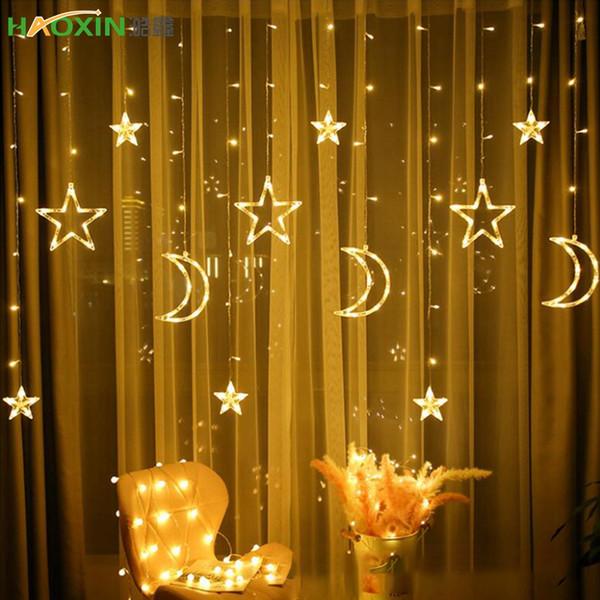 Lampada String Ins Luci di Natale Decorazione Luci natalizie cortina di lampada al neon da sposa Lanterna Lampada LED Haoxin Moon Star 110 / 220V luce fata