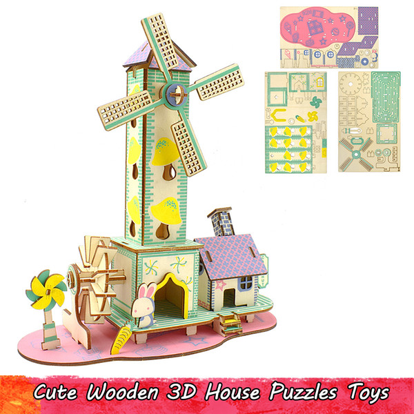 top popular Cute Wooden 3D Windmill House Puzzles Toys for Kids Teens Adult DIY Building Model Kits Educational Creative Gifts Party Favor Home Decor 2021