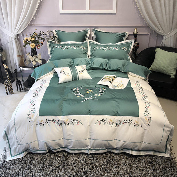4/7Pcs Embroidery Egyptian Cotton King size Queen Bedding Set Luxury Flat Bed Sheet set Duvet Cover Fitted sheet parure de lit