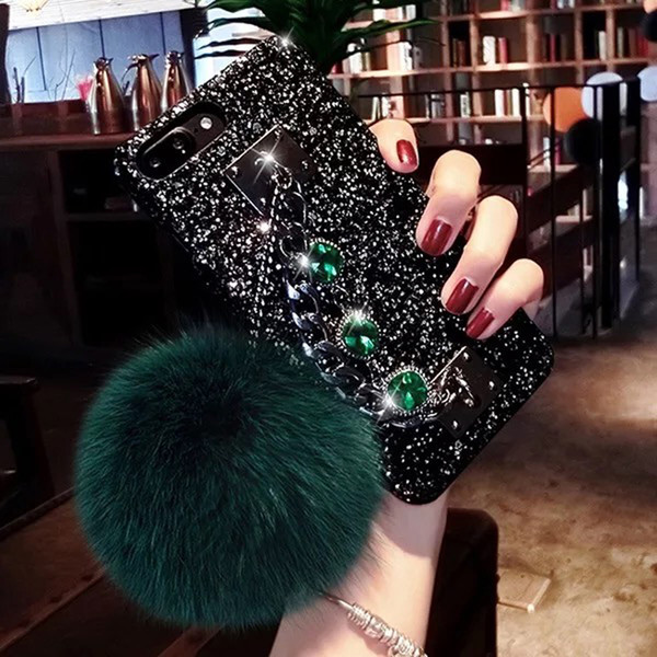 Fashion tide Luxury phone cover for iPhone Xs 6 7 8 plus Rough Flash Hairball Mobile Phone Case Phone Cover