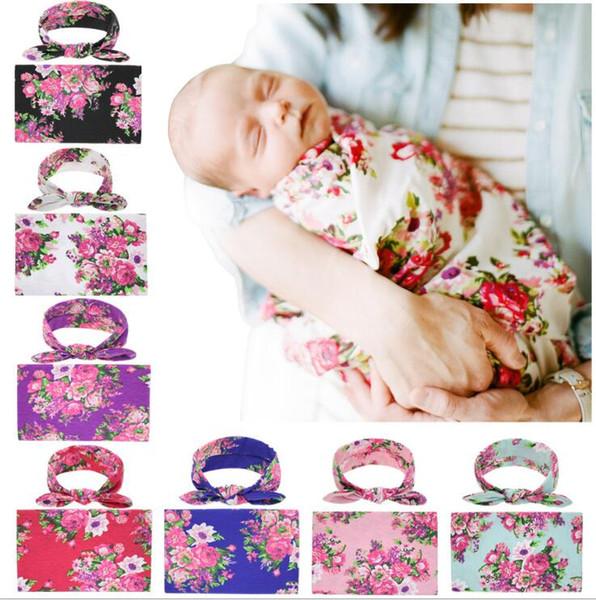 Neugeborenes Baby Swaddle Wrap mit Stirnband Bowknot Blumendruck Decke für Säuglingsschlaf Wrap Haarband Kid Bettwäsche Krippe Kostenloser Versand
