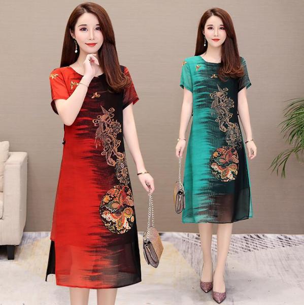 Envío gratis - 2019 verano nuevo estilo chino elegante sección larga suelta mejorado cuello bajo cheongsam vestido