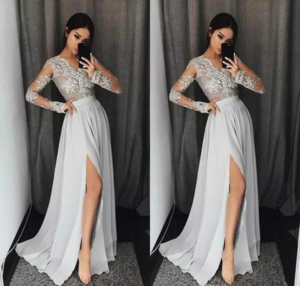 Abiti da ballo economici 2019 Maniche lunghe Abiti da sera spessi Abiti da cerimonia sexy formali Abiti da sera 2019 Designer Fashion Robe De Soiree
