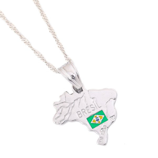 Silver Brazil Map National Flag Necklaces Pendant For Women Brazilians Chain Jewelry