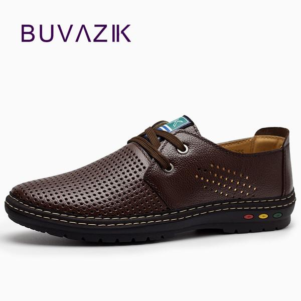 Chaussures de sport en cuir véritable été 2018 respirant doux conduite à la main hommes Chaussure Homme Net Surface Mocassins MX190713
