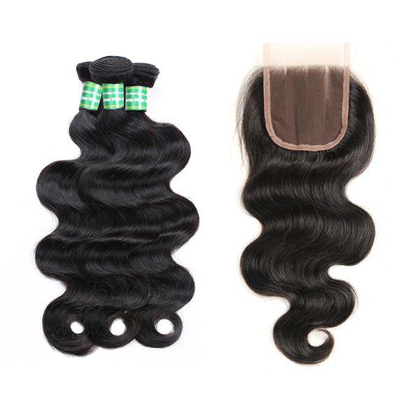 İnsan Saç Kapatma Ile 3 Demetleri Brezilyalı Vücut Dalga Ham Bakire Saç Atkı Bakire Insan Saç Uzatma Tissage 8-28 Inç Siyah 8a