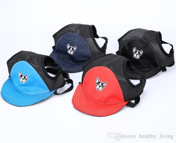 Summer Pet Sun Hat Bulldog Pattern Dog Hat Dog Travel Sun Hats Dogs Outdoor Visor Hat Mesh Breathable Pet Baseball Cap