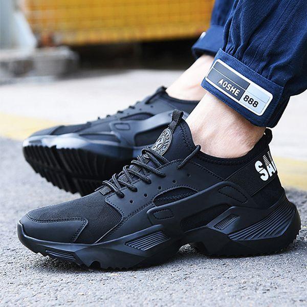 Lizeruee Sapatos de Segurança de Trabalho 2019 tênis de moda Ultra-leve fundo macio Homens Respirável Anti-esmagamento Botas de Trabalho Do Dedo Do Pé de Aço F025