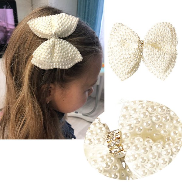 """2019 ins explosions 3.5"""" White Rhinestone Bow For Girl Kids Cute Pearls Hair Bow With Alligator Hair Clips Beads Hairgrip Hair Accessories"""