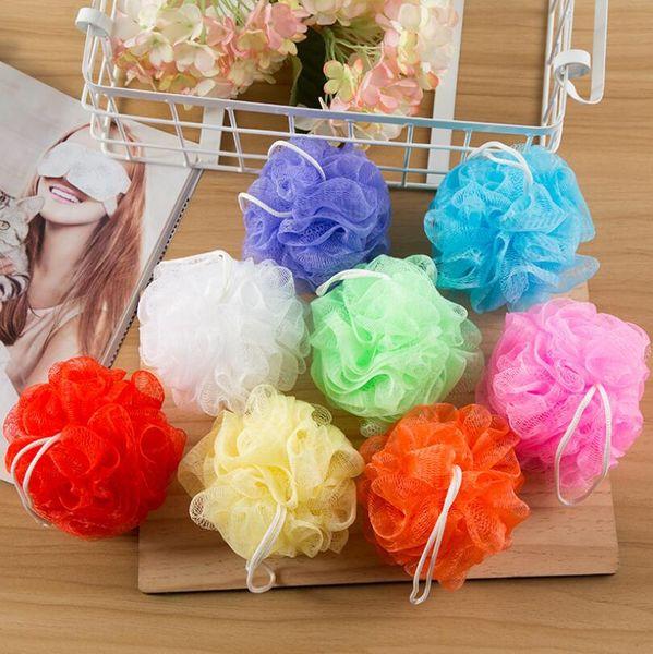 30 gramos de ducha de baño esponja de malla puf Nylon Loofahs pequeña malla de baño bola de malla ducha esponjas LX6607