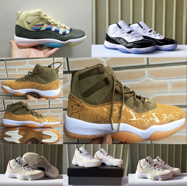 2019 New Prom Night Jumpman 11 XI Basketball Shoes for men Olive Gold PRM Heiress Concord 23 45 Trainers 11S fashion sport Sneakers