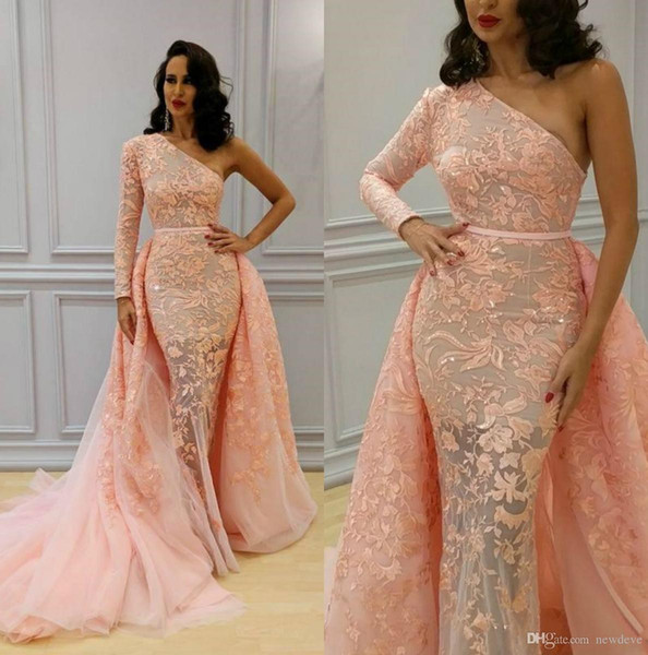 One Shoulder Overskirt Mermaid Prom Dress With Long Sleeve Lace Appliques Beaded Evening Gowns Sweep Train Tulle Sequined Formal Dresses