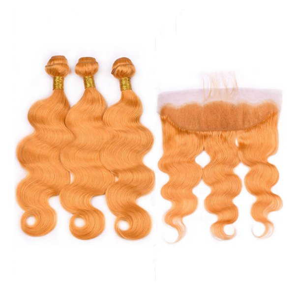Body Wave Brazilian Human Hair Orange Bundles 3Pcs with Free Part Frontal Closure 4Pcs Lot Pure Orange 13x4 Full Lace Frontal with Weaves