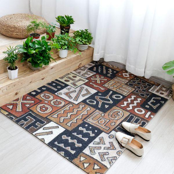 PVC Anti-Slip Kitchen Carpet Welcome Doormat Geometric Printed Floor Mat Hallway Portch Rug Door Mats Outdoor 60*90cm