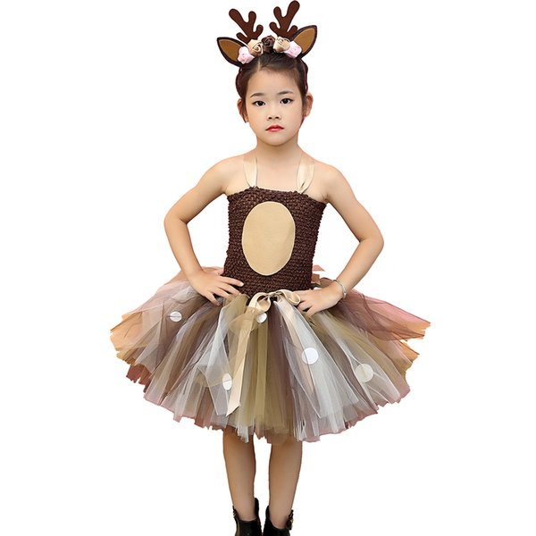 Brown Deer Tutu Dress Halloween Costume For Girls Kids Birthday Party Dress Children Cosplay Animal Sika Deer Dress Up Clothes J190616