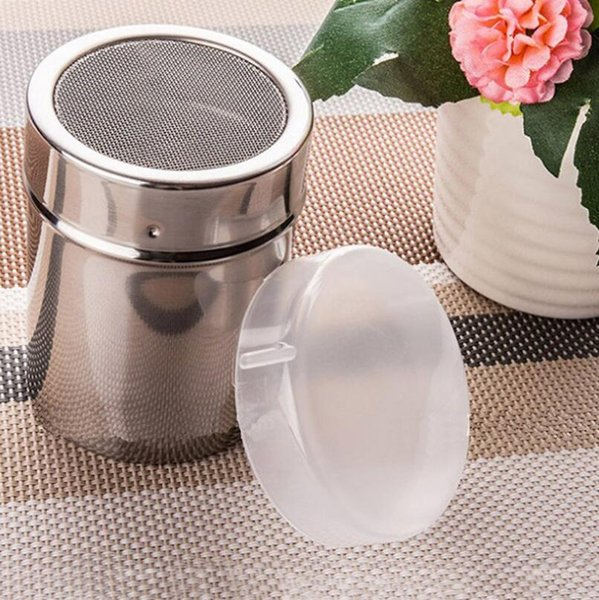 New Arrival Stainless Chocolate Shaker Cocoa Flour Icing Sugar Powder Coffee Sifter Lid Kitchen Cooking Tools