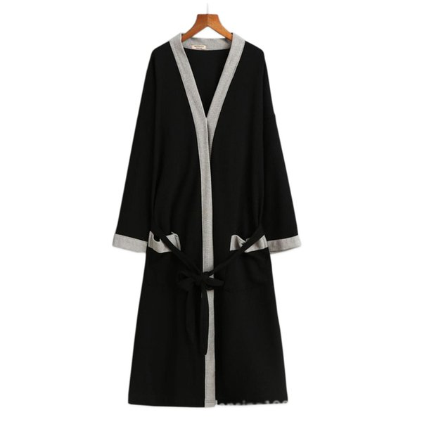 Hot sale waffle cotton women robes long-sleeved simple high quality hotel Sauna SPA bathrobes for women couples robes plus size
