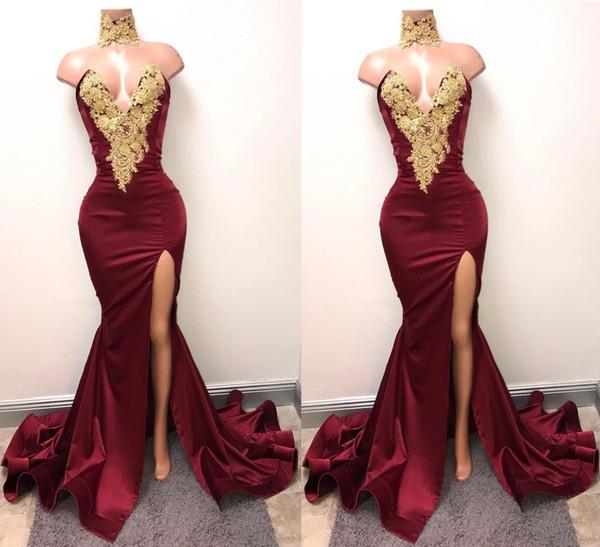 Compre Vestido De Fiesta De Sirena Dividida De Lado De Vino Rojo Formal Apliques De Encaje Sexy Corte Profunda Vestidos De Noche Con Cuello En V