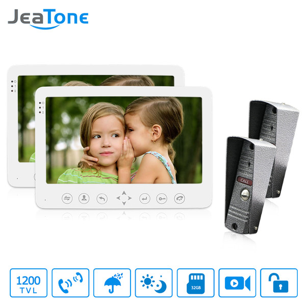 "JeaTone 7"" LCD 2 IR Night Cameras+ 2 Touch Button Monitors Video Door Phone Intercom Doorbell Home Security System Waterproof"