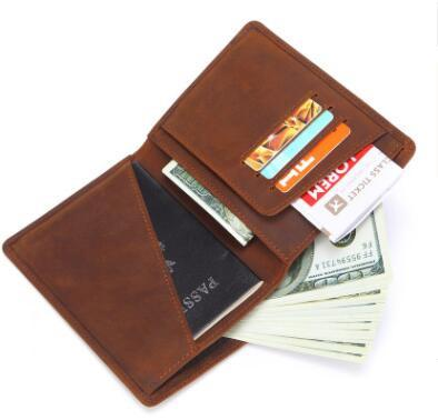 wholesale Men Genuine Leather Passport Cover Business Wallet male Fashion Design Passport Holder Light Thin Licence ID Card Holder