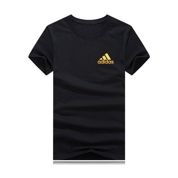 662019 men's cotton T-shirt, various colors, embossed with gold letters, sports casual style, free shipping