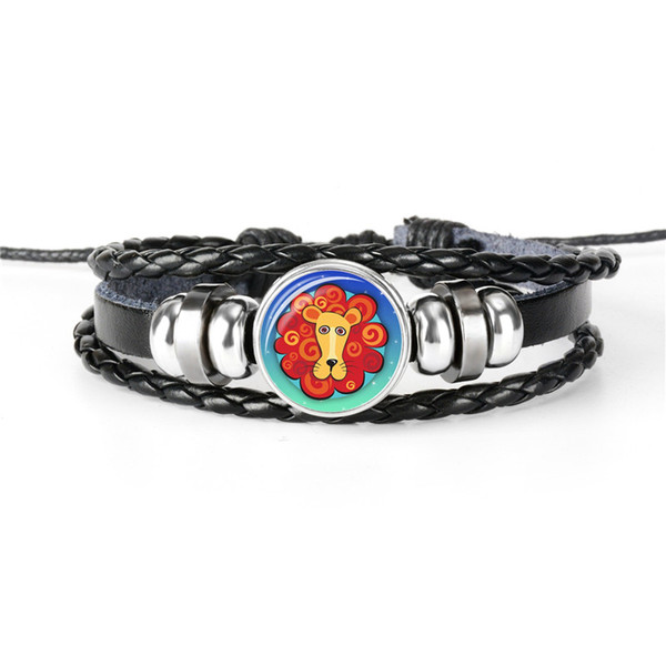 Punk Design 12 Constellations Zodiac Leo Time Gem Glass Cabochon Bracelets For Mens Womens New Fashion Wristband Leather Rope Beaded Jewelry