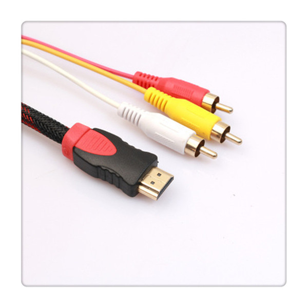 MOTONG 5 FT 1.5m HDMI Male to 3RCA Male Extension Cable Converter Adapter for HDTV DVD Free Shipping