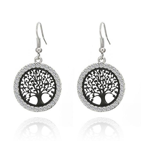 Cheap Drop KJjewel Silver Plated Crystal Tree of Life Charm Pendant Drop Dangle Earrings for Women Gift Party Earrings