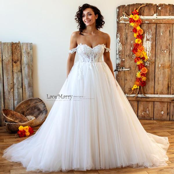 2020 богемное бальное платье кружевной топ свадебные платья без спинки развертки поезд мягкий пухлый тюль плюс размер свадебных свадебных платьев