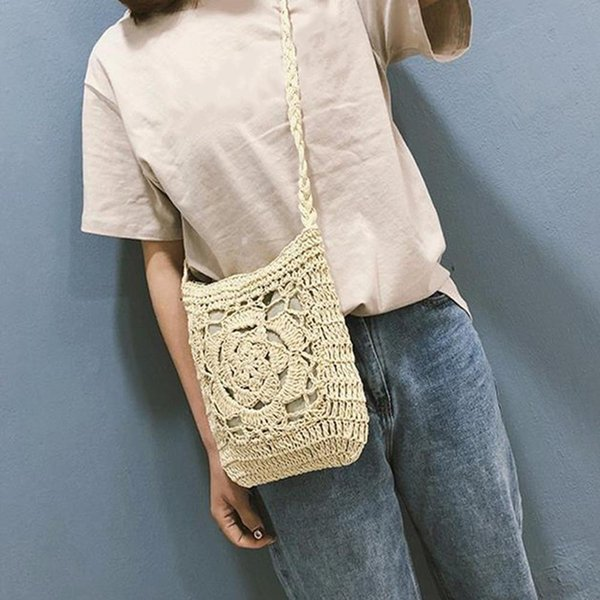 Woven Straw Messenger Knitted Bag Flower Beach Storage For Women Handmade Totes Fashion Shoulder Girl Lady Hand Bags Handbag