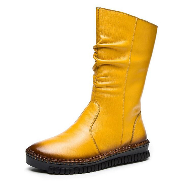 Más el tamaño de la cremallera lateral cosida a mano en el tubo de las mujeres botas plisadas botas de cuero genuino cómodos cálidos zapatos de invierno mujer botas