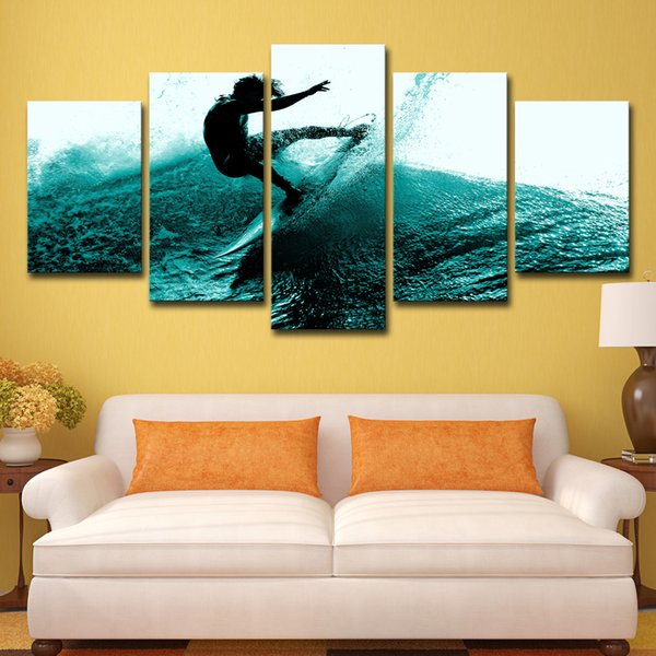 5 Piece HD Printed Man Surfing Group Picture Painting Wall Art Room Decor Print Poster Picture Canvas Free Shipping