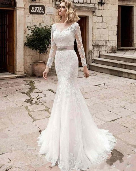 vestidos de novia de sirena bohemios de encaje de manga larga de talla grande de diseñador vestidos de novia con faja cuello y espalda transparentes