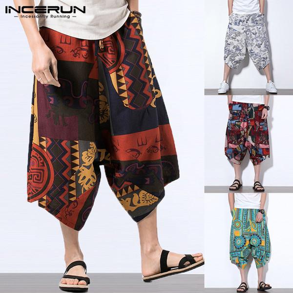 INCERUN Big 5XL Pants Men Cotton Summer Cross-pants Harem Pants Big Crotch Drop Wide Legs Baggy Loose Trousers Hombre Hawaiian