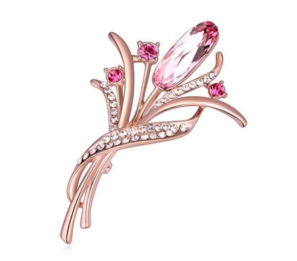 Free shipping fashion jewelry High-end OL Dress Brooch Using Swarovski Elemental Crystal Brooch Flower dance female Brooches Pins